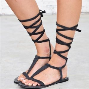 NEW Free People Black Dahlia Gladiator Sandals